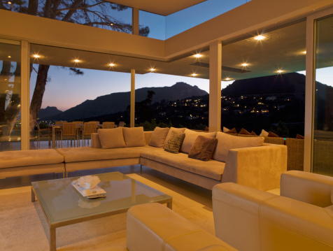 South Africa「Living room and glass wall of modern home」:スマホ壁紙(12)