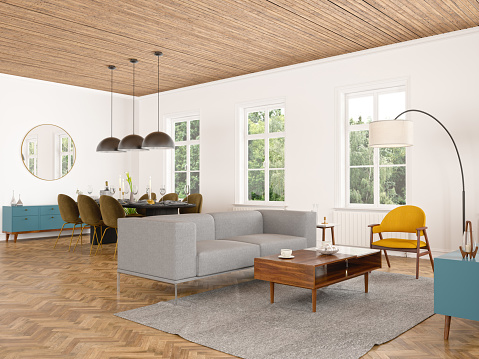 Villa「Living Room with Dining Room Interior」:スマホ壁紙(13)