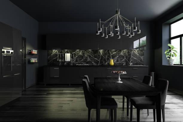Black Modern Kitchen Interior:スマホ壁紙(壁紙.com)