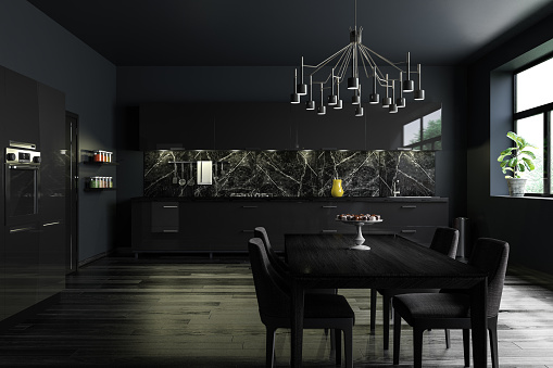 Home Improvement「Black Modern Kitchen Interior」:スマホ壁紙(9)