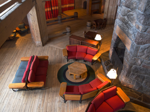 Ski Resort「Timberline Lodge with Interior Chairs by Fireplace Mount Hood Oregon」:スマホ壁紙(8)