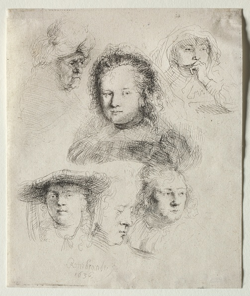 Etching「Studies Of The Head Of Saskia And Others」:写真・画像(4)[壁紙.com]