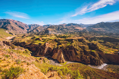 Inca「Colca Canyon landscape with river and terraced fields」:スマホ壁紙(15)