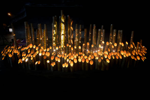Bamboo candle lights:スマホ壁紙(壁紙.com)