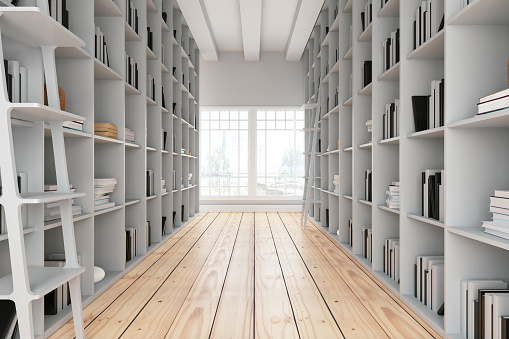 Bookstore「Library Aisle with Wooden Shelves」:スマホ壁紙(7)