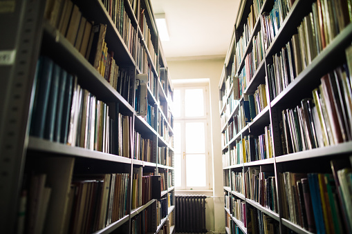 Literature「Library aisle with bookshelves」:スマホ壁紙(9)