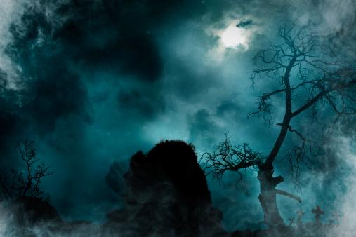 満月「古い墓地」:スマホ壁紙(15)