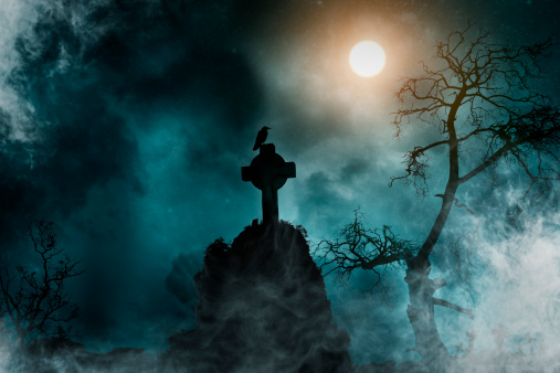 ハロウィン「古い墓地」:スマホ壁紙(2)