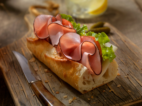 Bun - Bread「Ham and and Cheese Sandwich on a baguette」:スマホ壁紙(12)