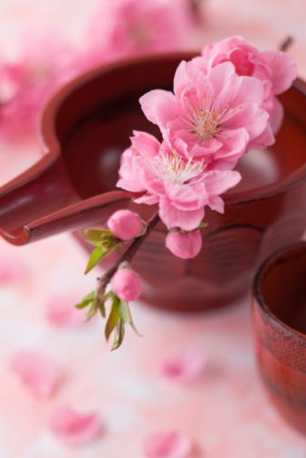 ひな祭り「Sake cup and peach blossoms」:スマホ壁紙(0)