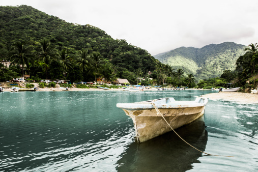 Sayulita「Docked boat floating in tropical bay」:スマホ壁紙(2)