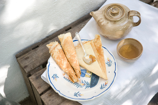 Brittany - France「Plate with crepes, cup of tea and teapot」:スマホ壁紙(18)