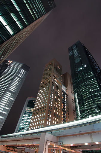 Shiodome「Skyscrapers & Monorail at night」:スマホ壁紙(4)