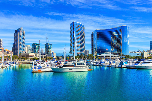San Diego County「Skyscrapers of San Diego Skyline waterfront and harbor, CA」:スマホ壁紙(17)