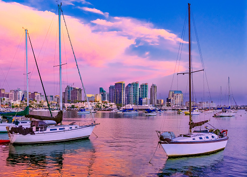 San Diego「Skyscrapers of San Diego Skyline,harbor,sailboat, CA(P)」:スマホ壁紙(17)