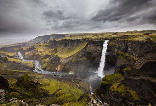 Wilderness Area「Majestic Haifoss waterfall at Southern Iceland.」:スマホ壁紙(18)