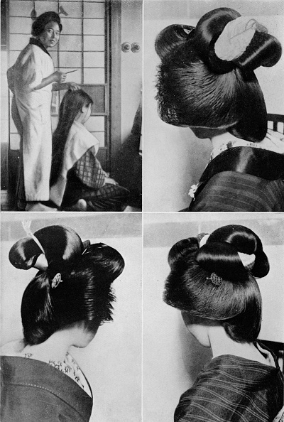One Young Woman Only「'It takes two hours for a geisha's hairstyle, the coiffure, lasts several days', c1900, (1921)」:写真・画像(16)[壁紙.com]