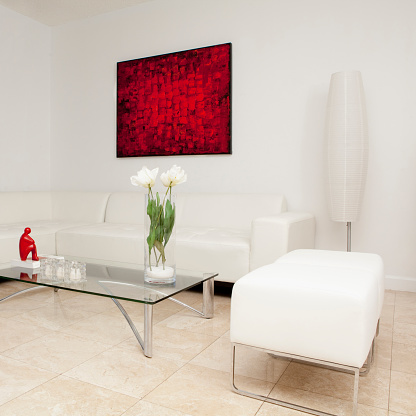 アート「Coffee table, sofas and wall art in modern living room」:スマホ壁紙(2)