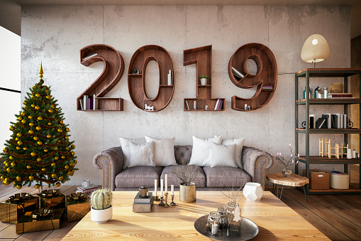 New Year's Eve「2019 BookShelf with Cozy Interior」:スマホ壁紙(6)