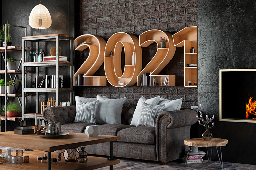 New Year「2021 BookShelf with Cozy Interior」:スマホ壁紙(17)