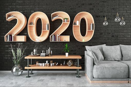 New Year「2020 BookShelf with Cozy Interior」:スマホ壁紙(2)