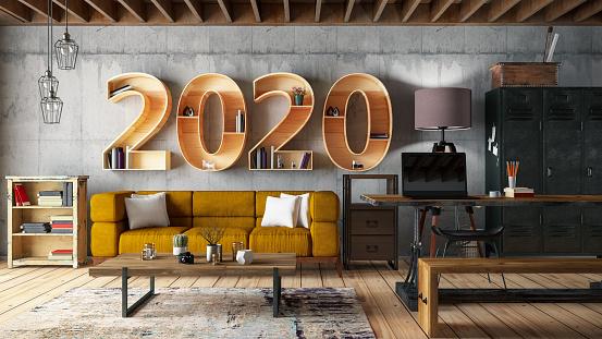 New Year「2020 BookShelf with Cozy Interior」:スマホ壁紙(0)