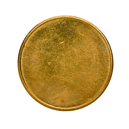 Brass「Single used blank brass coin, top view isolated on white」:スマホ壁紙(4)