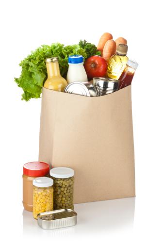 Reusable Bag「Brown bag full of groceries sits on white background」:スマホ壁紙(16)