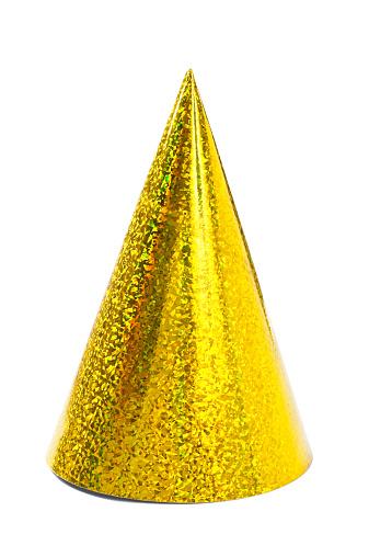 お正月「シングル黄色パーティの帽子白背景」:スマホ壁紙(8)