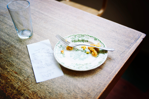 Leftovers「bill and empty plate on table in cafe」:スマホ壁紙(12)