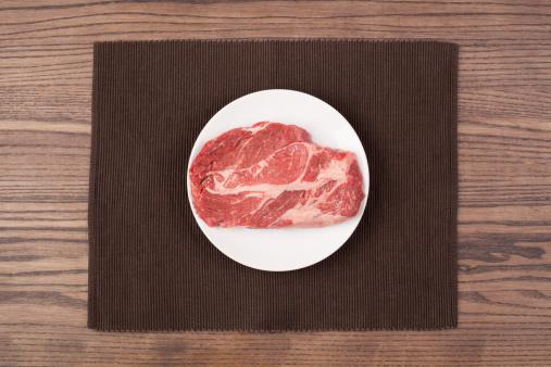 皿「A raw steak on a plate on a wood table」:スマホ壁紙(5)