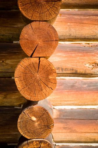 Woodland「detail of log cabin walls, exterior」:スマホ壁紙(12)