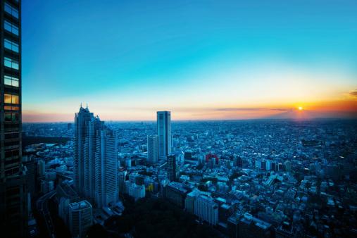 夕日「東京の街の眺め」:スマホ壁紙(4)