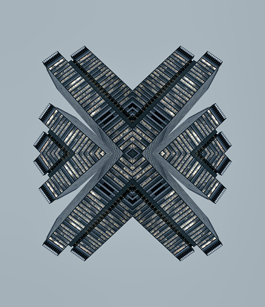 Gray Background「Kaleidoscope skyscrapers」:スマホ壁紙(4)