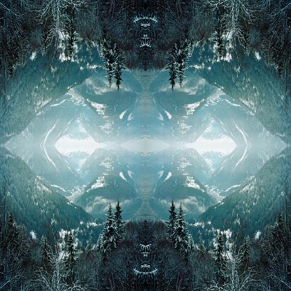 Fantasy「Kaleidoscope snowy trees in mountains」:スマホ壁紙(8)