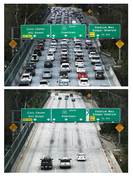 Multiple Lane Highway「Then And Now: Los Angeles' Freeways Empty Out During Coronavirus Pandemic」:写真・画像(11)[壁紙.com]