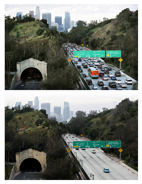 Traffic「Then And Now: Los Angeles' Freeways Empty Out During Coronavirus Pandemic」:写真・画像(5)[壁紙.com]