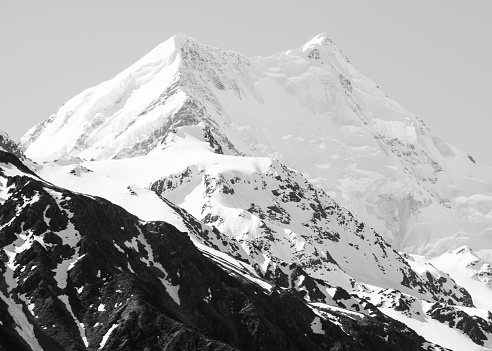 Westland - South Island New Zealand「Mt Cook at Sunset- black and white 2」:スマホ壁紙(14)