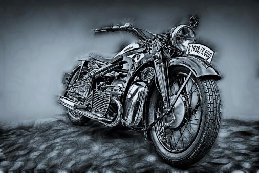 Motorcycle「old black bike」:スマホ壁紙(4)