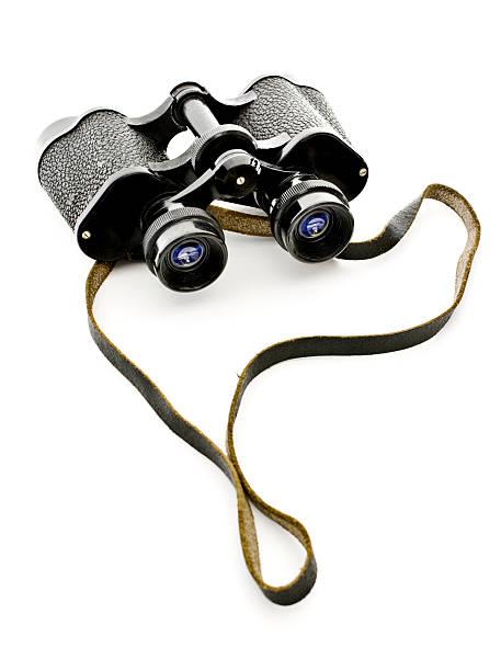 Old black binoculars on white:スマホ壁紙(壁紙.com)