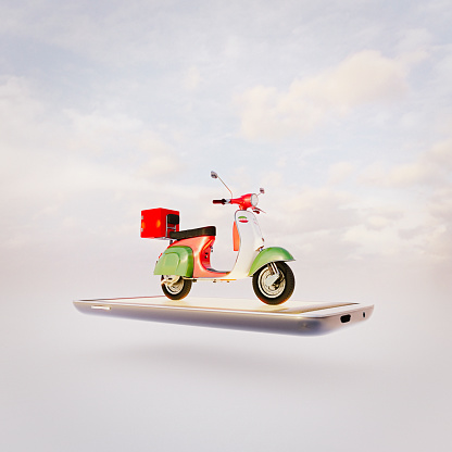 Cloud Computing「Pizza delivery scooter on mobile phone」:スマホ壁紙(10)