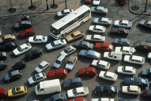 France「Rush hour traffic jam, overhead view, Paris, France」:スマホ壁紙(9)