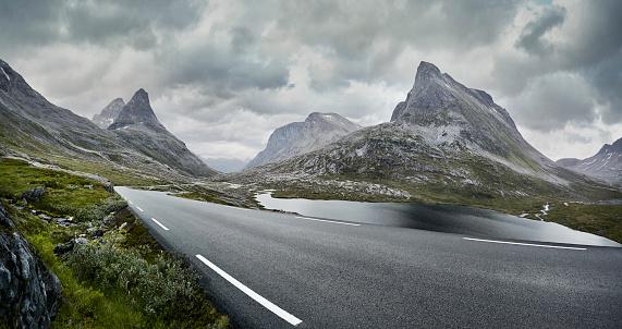 Scandinavia「Empty road through stormy mountain landscape, Norway」:スマホ壁紙(11)