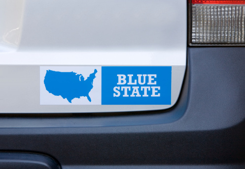 Politics「Blue state bumper sticker on car」:スマホ壁紙(7)