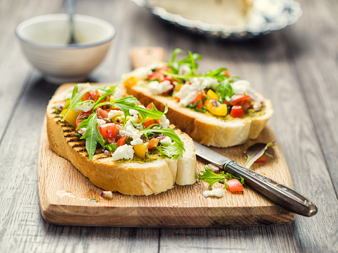 French Food「Bruschetta with tomato and rocket」:スマホ壁紙(19)