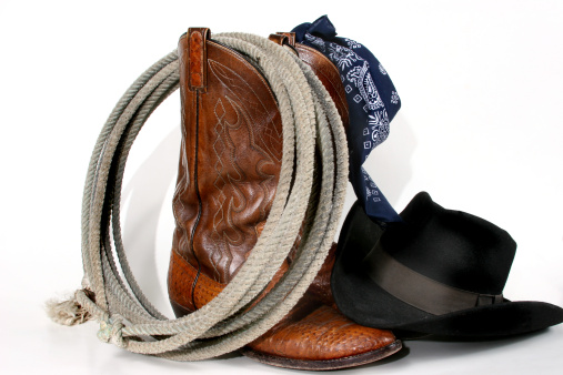 Boot「Cowboy gear: boots, hat, rope and bandana. Isolated on white.」:スマホ壁紙(14)