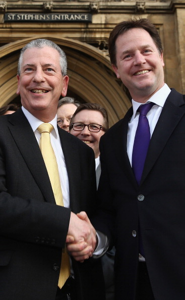 New「Newly Elected MP For Eastleigh Mike Thornton Arrives At Parliament Accompanied By Liberal Democrat Leader Nick Clegg」:写真・画像(5)[壁紙.com]