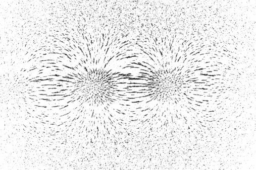Pole「Demonstrating magnetic field lines of attracting poles using iron filings」:スマホ壁紙(3)