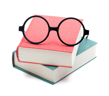 Writing - Activity「Books and glasses isolated on white background」:スマホ壁紙(1)
