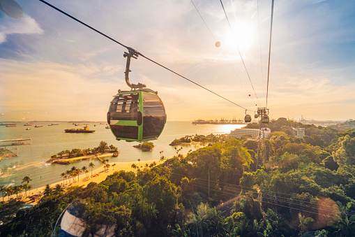 Overhead Cable Car「Cableway trip in Sentosa Island, Singapore」:スマホ壁紙(8)